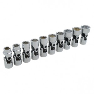 10 Pieces 6 Point Metric Universal Joint Socket Set